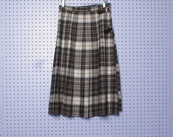 Vintage 70s BURBERRY Plaid Pleated Kilt Skirt with Leather Buckled Straps 100% Wool