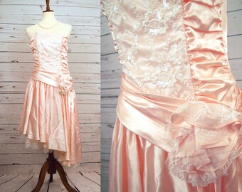 1920s Flapper Gatsby Dress Costume 70s 80s Prom Homecoming Pink Lace Asymetrical Gown Lace Ruched Short Fairy Princess Formal Fancy Satin S
