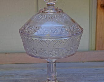 Victorian Clear Glass Compote with Lid