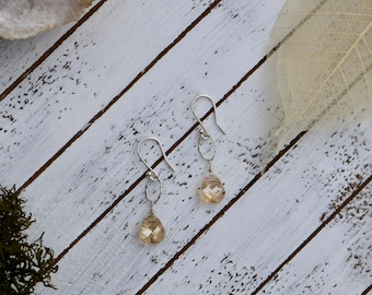 Champagne Swarovski Crystal and Sterling Silver Earrings