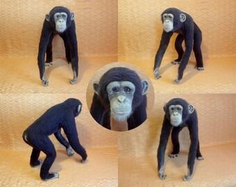 Custom Needle Felted Sculpture Сhimpanzee - Woolen Portrait Animal