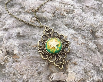 Starfish necklace,dry flower necklace,flower of life necklace,terrarium jewelry,bohemian necklace,Victorian necklace,gift for her,dandelion