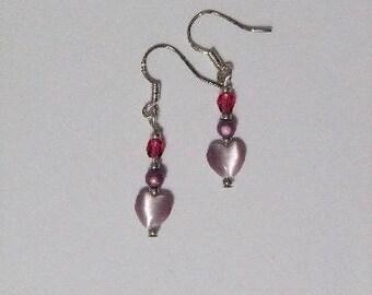 Purple Heart and Pearl Earrings