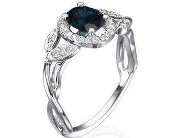 Blue sapphire ring, Blue sapphire engagement ring, Blue sapphire white ring, leaves ring, Blue sapphire diamond  ring,  White gold Ring, 14k