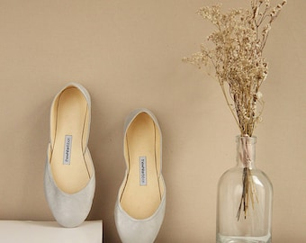 Metallic Ballet Flats in Dusty Silver | Wedding Shoes | Pointe Style Shoes | Classic Model | Standard Width | Dusty Silver | Ready to Ship