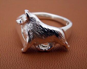 Sterling Silver Schipperke Moving Study Ring
