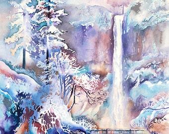 Winter Frost- Multnomah Falls in the Winter Watercolor Art Print. Watercolor Snow Scene. Waterfall. Bridge. Trees. Blue. Purple. Gorge.
