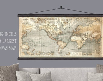 World push pin travel map 40x60 or 44x72 canvas hanging map largest world push pin travel map 44x82 canvas hanging map vintage push pin map gumiabroncs Gallery