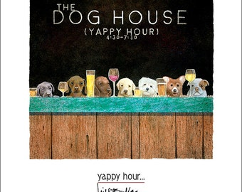 Will Bullas / art print / yappy hour... / humor / animals