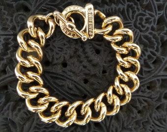 GUY LAROCHE bracelet/Vintage Curb Chain Bracelet .