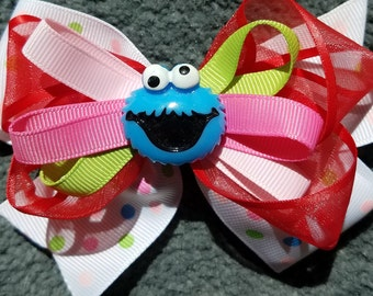 """Cookie Monster Sesame Street Stacked Layered Colorful Hair Bow New 4.5"""" Hair Bow Baby Toddler Big Girl Hair Bow"""