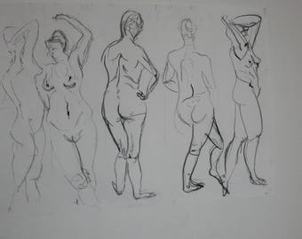Five female models in charcoal A1