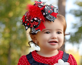 Black Red Over the Top Hair Bow - Christmas Hair Bow - Back to School Bow - Baby Bows - Toddler Bows - Girls Hair Bows - 6 Inch Bows