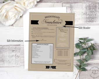 Bridesmaid Newsletter. Simply Charming. Layout 4. Instant Download. Wedding Newsletter. Editable.