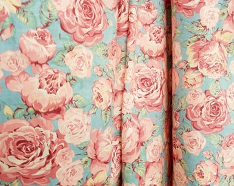Chantilly Rose Floral Cabbage Rose Fabric by Qualitex Inc. Fabric, Pink, Blue, Green, Cotton, Home Decor Fabric, 4 Yards