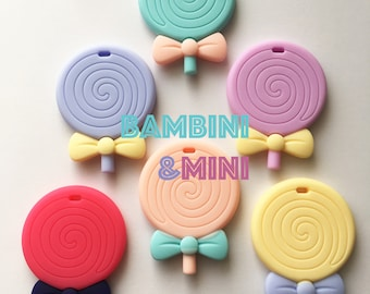 Silicone Teether | Lollipop | Baby Gift | Soother | Pendant | 2inches | Different colors