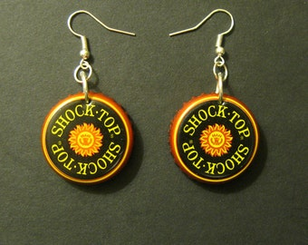 Recycled Bottle Cap Earrings Shock Top Beer