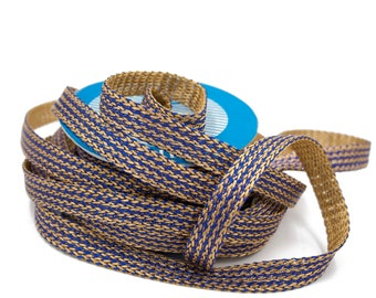 Golden Blue Braided Ribbon Double sided 1,5 cm x 1 meter (6 colors available)