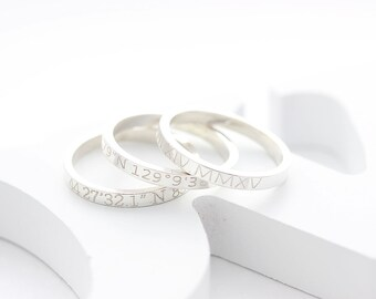 Personalized Engraved Ring, Coordinates Ring, Name ring, Roman numeral RIng,  Location Ring,  wedding gift, gift for her