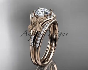 Engagement rings, 14kt rose gold diamond leaf and vine wedding ring, engagement set ADLR91S