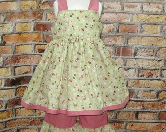 Sunbonnet Pink and Green Girl Outfit,  Pink Girl Outfit, Country Style Girl Outfit, Girl Ruffle Pant, Toddler Outfit, Girls Summer Outfit