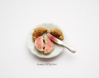 Miniature Croissants - Breakfast Croissants and Jam Miniature Plate Full Bakery Item for Dolls House 1:12 Scale