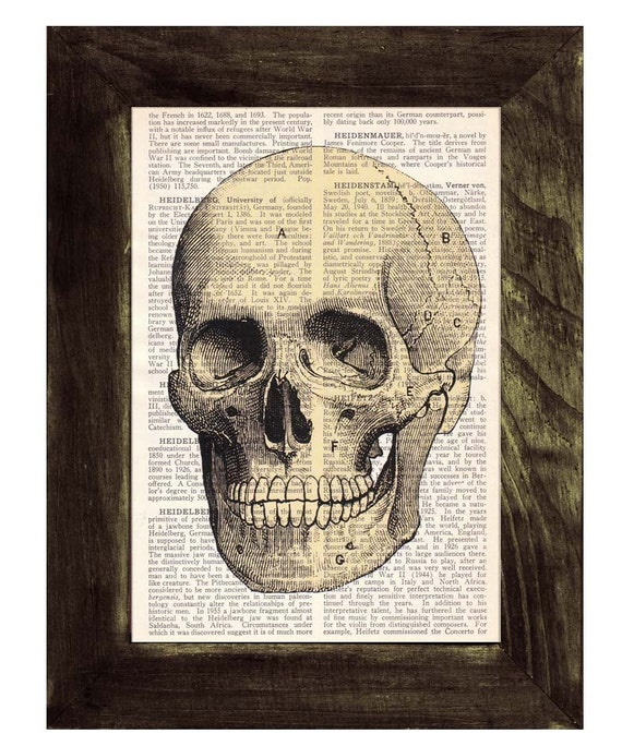 Gift for doctors- human skull printed on a sheet from antique dictionary - Doctors office art- Human skull  SKA005