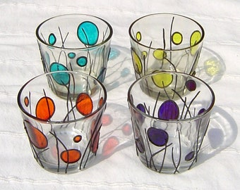 Glass Tealight Holder With Colourful Dots