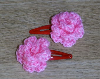 Assorted crocheted rose hair clips