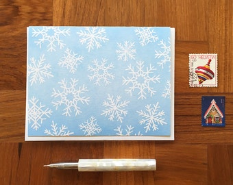 Snowflake Pattern, Holiday Card, Christmas Card, Letterpress Folded Note Card, Blank Inside