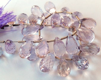 Pink Amethyst Gemstone. Semi Precious Natural Gemstone Bead. Faceted Teardrop Briolette, 10- 12mm. Pairs or 1 to 9 Briolettes (j3pam)