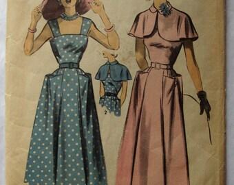 Vintage 1940's 1950's Advance Pattern #5511 Sundress and Capelet Jacket