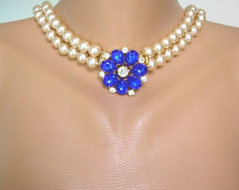 Long Pearl Necklace, SAPPHIRE Necklace, Great Gatsby, Cream Pearls, Vintage Bridal, Montana Rhinestone, Cobalt Blue, Wedding Necklace, Deco
