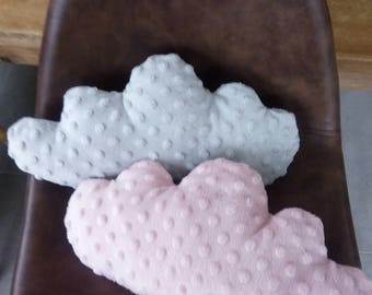 Duo of cushions cloud gray and pink embossed polka dot fleece