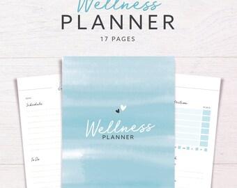 WELLNESS PLANNER • Health & Fitness • Wellbeing Planner • Diet Tracker • Health Journal •Workout Planner • 2017 Printable Inserts
