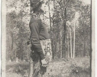Old Photo Man wearing Native American Indian Clothing in Woods 1910s Photograph Snapshot vintage