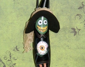 Hand Painted Halloween Witch Gourd Ornament - ghoul - Halloween decor - Gourds - Gourd Ornament - Original Design - Home Decor -Witch