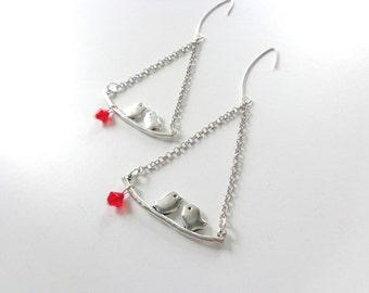 Silver bird earrings, red silver earrings, red silver bird earrings, silver branch earrings, branch earrings, birds on a branch earrings