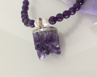 Natural Amethyst quartz necklace, Raw Amethyst Cluster pendant, Unique necklace, Healing stones jewelry, Gemstone Gift, FREE SHIPPING