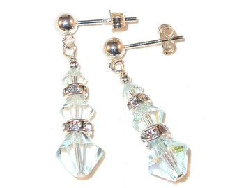 Pale LIGHT AZORE BLUE Crystal Earrings Swarovski Elements Dangle Sterling Silver