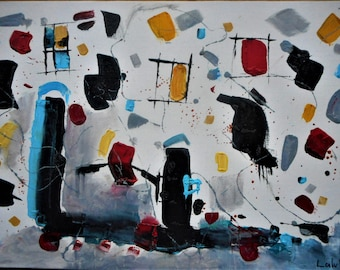 "Original Abstract Oil Painting by Nalan Laluk: ""Topsy-Turvy"""