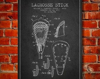 1977 Lacrosse Stick Patent, Canvas Print,  Wall Art, Home Decor, Gift Idea
