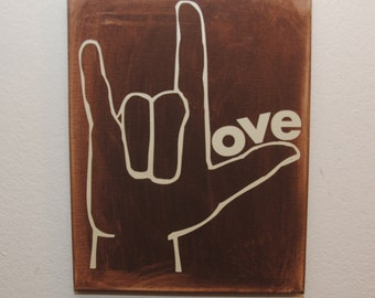Sign language sign, love sign, I love you sign, Gift for Her, Gift for Him, Wall Art, canvas wall art, valentine's day gift idea, unique art