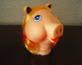 """3 1/2"""" Piggy Doll Head with Blonde Hair and Red Ribbons – Westrim Crafts Style 6495 - Vintage Doll Craft Supply"""