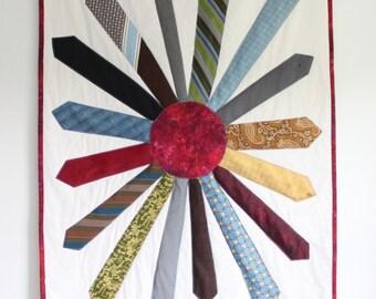 NeckTie Memory Quilt - Sunburst Quilt - Tie Wall Hanging