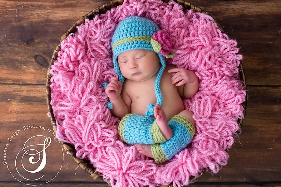 Download Pdf Crochet Pattern Earflap Hat With Rose And Leg Warmers