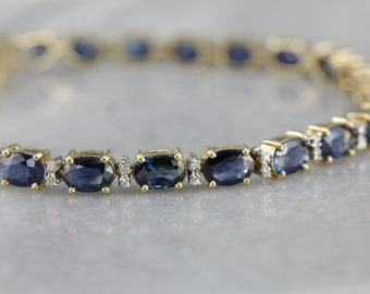 Sapphire and Diamond Tennis Bracelet, Anniversary Gift, Layering Bracelet H58UR8V4