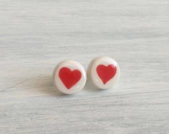 Ceramic heart lobe earrings-red jewellery-stud earrings-red hearts earrings-Ceramic Jewelry