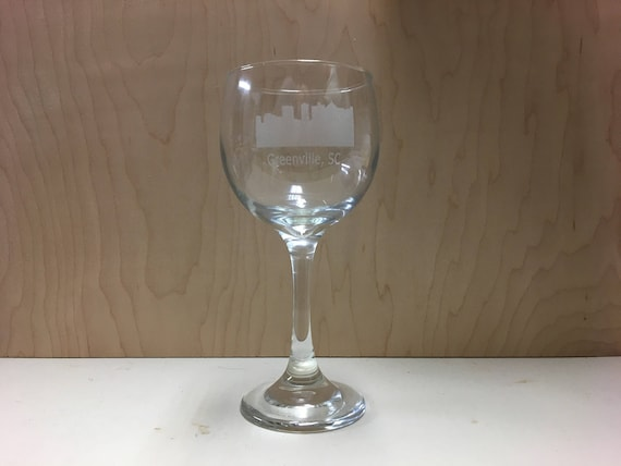 Laser Engraved Greenville Wine Glass Set