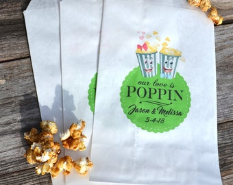 Popcorn Bags | Movie Theme Wedding | Movie Engagement | Retro Popcorn | Popcorn Buffet Bags | Paper Popcorn Bags | Love is Poppin